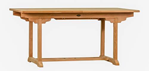 Ausziehtisch Tivoli aus Teakholz 160-220cm ✓ Wetterfest ✓ Nachhaltig ✓ Robust  Eckiger Holztisch als großer Küchen-Tisch Balkon-Tisch Garten-Tisch  Ausziehbarer Teak-Tisch Esstisch für draußen  Verlängerbares Garten-Möbel aus Massiv-Holz