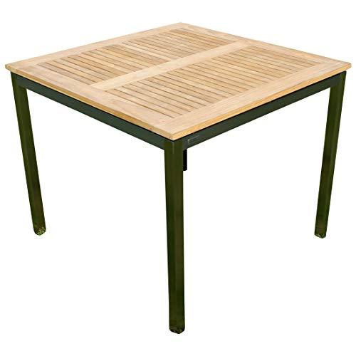 Edelstahl Teak Gartentisch 90x90 cm Holztisch Esstisch Tisch Massive Ausführung A-Grade Teakholz Kuba Modell Kuba von As-S
