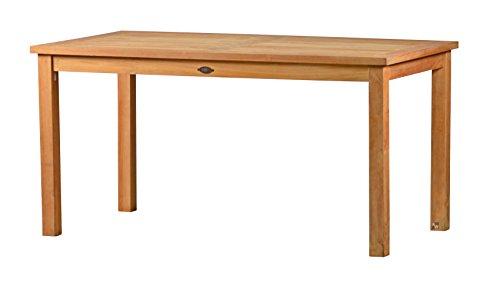 Massiver Gartentisch London aus Teakholz 150x80cm ✓ Wetterfest ✓ Nachhaltig ✓ Robust  Holztisch als großer Küchen-Tisch Balkon-Tisch Terrassen-Tisch  Brauner Teak-Tisch Esstisch für drinnen draußen  Rechteckiges Garten-Möbel aus Massiv-Holz