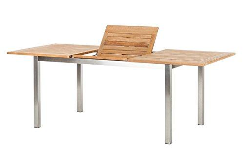 Trendy Home GmbH Ausziehtisch Lagos Teaktisch mit Edelstahl 150210 x 90 x 75 cm hochwertig Teakholz Esstisch ausziehbar Holztisch Gartentisch
