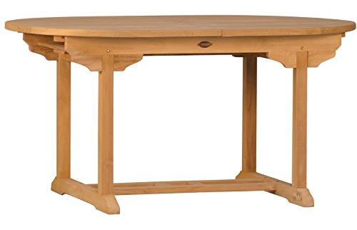 Ausziehtisch Orvieto aus Teakholz 180-240cm ✓ Wetterfest ✓ Nachhaltig ✓ Robust  Ovaler Holztisch als großer Küchen-Tisch Balkon-Tisch Garten-Tisch  Ausziehbarer Teak-Tisch Esstisch für draußen  Verlängerbares Garten-Möbel aus Massiv-Holz