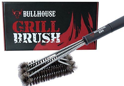Bullhouse BBQ Grillbürste 3 in 1  100 Edelstahl  45 cm Profi-Grillbürste  Für alle Grills Oberflächen