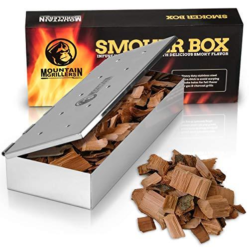 Räucherbox für BBQ aus Edelstahl - Smokebox für EIN Tolles Aroma Beim Grillen - Für Gasgrill Kohlegrill und Holzgrill - Räucherzubehör Für Barbecue - mit Klappdeckel – Universal Geschenk für Männer