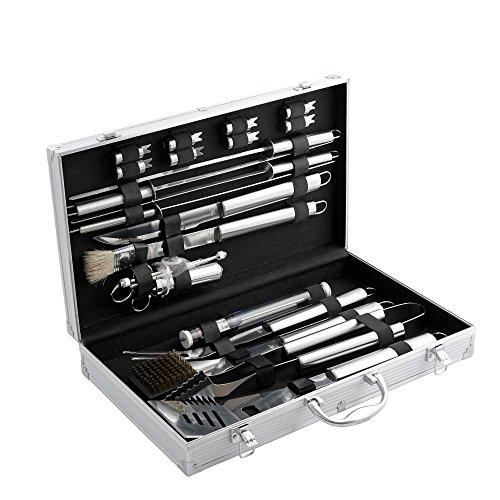 CampFeuer Edelstahl Grillbesteck Set mit Aluminiumkoffer Barbeque Grillkoffer BBQ Besteckset ideal zum Grillen mit Grillgabel Grillzange Bratenwender und mehr 20-teilig