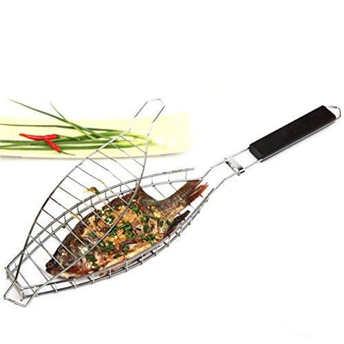RoseFlower BBQ Steak Grillkorb Fischgriller Fischbräter Fischhalter Grillwender aus Edelstahl Grill-Korb mit Griff - Ideal Barbecue Grillen Kit für Dad Silber