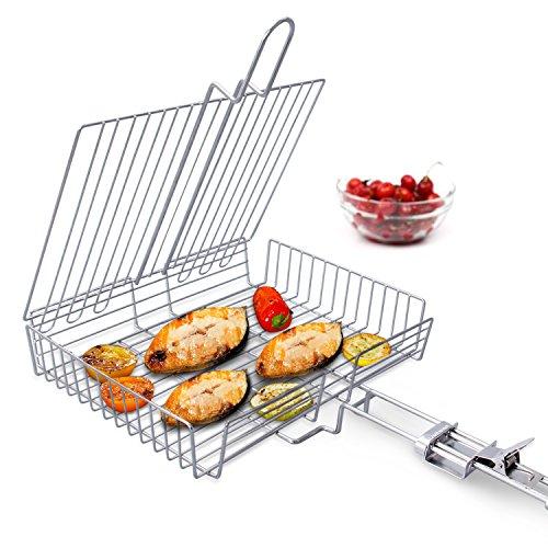 WolfWise Grillkorb Fischbräter Gemüsekorb Burger Grillwender Grillrost Grill Basket mit Abnehmbarem Griff aus 430 Edelstahl Rostfrei