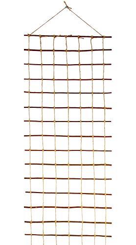 Floranica Rankhilfe Rankgitter Rankleiter aus gekochter natürlicher Weide und Juteschnur bedenkenlos für Gartengemüse und Tiere Länge 200 cm Breite50 cm
