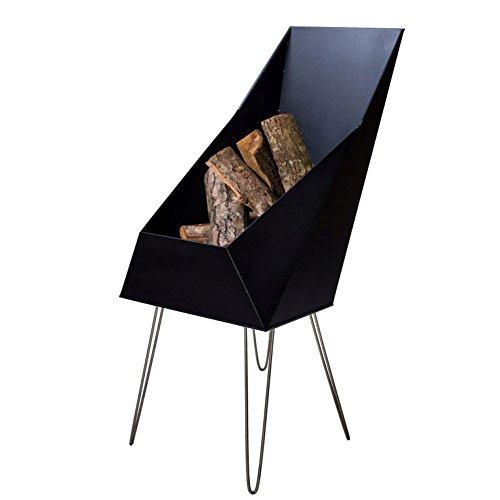 VASNER Merive M4 Feuerkorb Kamin Stahl schwarz 4 Edelstahl Beine 50x46x93 cm modern eckig für Terrasse Garten – Feuerschale Feuerstelle