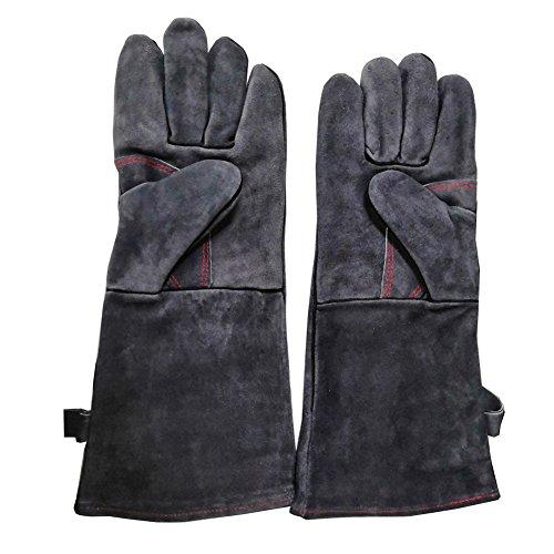 Chengsan Grillhandschuhe hitzebeständige Handschuhe mit 406 cm langen Stulpen für Ofen Mikrowelle Grill Kamin - grau-schwarz