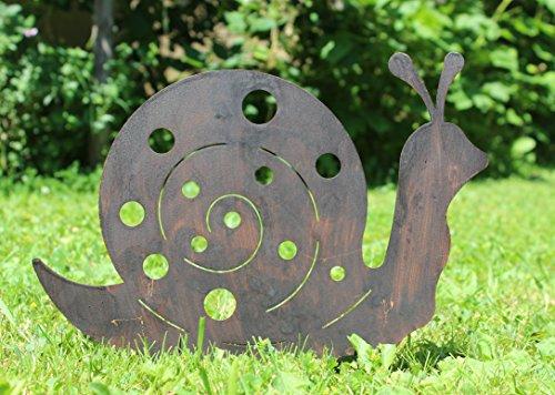 Nostalgic Garden Gartendeko Gartenstecker Schnecke zum Stecken Edelrost Rost Deko Design - D  1 x Holzherz
