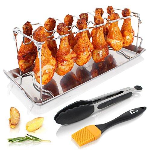 Amazy Hähnchenschenkel Halter inkl Auffangschale  BBQ-Pinsel  Bratzange – Hochwertiger Geflügelhalter aus Edelstahl für gleichmäßig gegarte Hähnchenkeulen aus dem Backofen oder vom Grill
