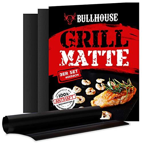 Bullhouse Grillmatten 3er Set für Grill Backofen  Extra dick Garantiert hitzebeständig bis 260°C  Antihaftbeschichtung  Grillmatte 40 x 33 cm