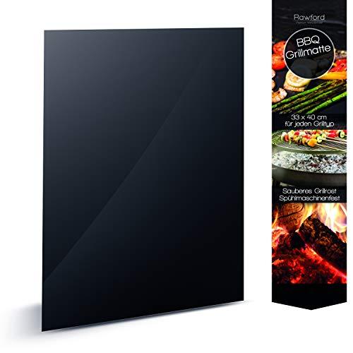 Rawford Grillmatte - Universell einsetzbare Grillmatten für Grill Backofen - 04mm Dicke Grillfolie geeignet für Holzkohle- Elektro- Gasgrill - Spülmaschinenfeste BBQ Matte 1ner Set