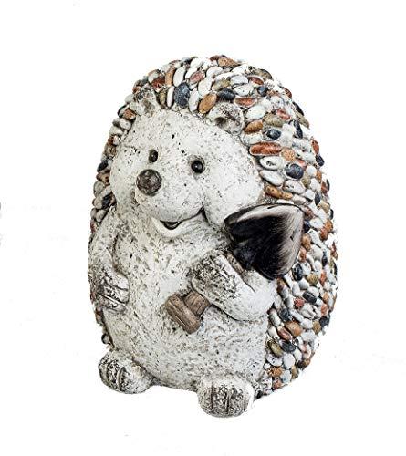 Formano Gartenfigur Igel mit Spaten Dekofigur Tierfigur in Kieselstein-Optik aus wetterfestem Magnesia bunt - Igel sitzend