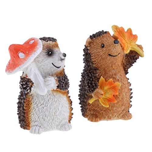 Homyl Dekofigur Kaninchen Igel Gartenfigur Tierfigur Ornament Weihnachten Garten Rasen Deko in verschienden Form und Farben - Ein Paar Igel  3
