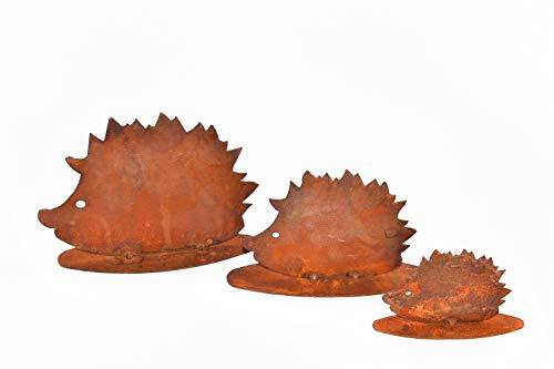 Rostikal Herbstdeko Igel Familie 3er Set Edelrost Metall Garten und Wohn Dekoration mit Pfiff