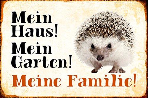 Schatzmix Mein Haus Mein Garten Meine Familie Igel Hedgehog Metal Sign deko Schild Blech Garten