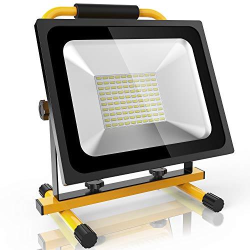 Neu Update 50W Led Baustrahler Akku Strahler - 3800lm mit 100 LEDs bis zu 8 Stunden Leuchtdauer starke Heilligkeit Akku wechselbar kaltweiß Lichtfarbe