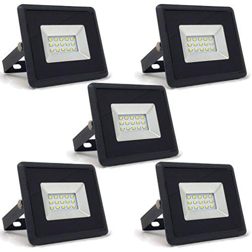 5-er Pack - ZONE LED SET - 10W - LED Strahler LED Fluter - Weisses Licht 6400K - 850 Lm - Entspricht 50W - Abstrahlwinkel 110° - Schwarzer Körper