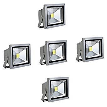 Generic 10W LED Strahler Kaltweiß Fluter Licht Scheinwerfer Außenstrahler Wandstrahler Aluminium IP65 Wasserdicht 5 Stück Silber