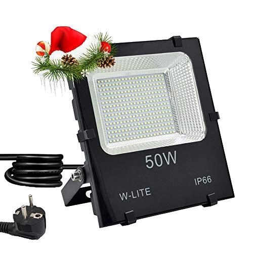 LED Strahler Außen Fluter 50W mit Zuleitung Aussenleuchte Wand mit EU-Stecker IP66 Wasserdicht Kaltweiß Superhell Wandstrahler Gartenlampe