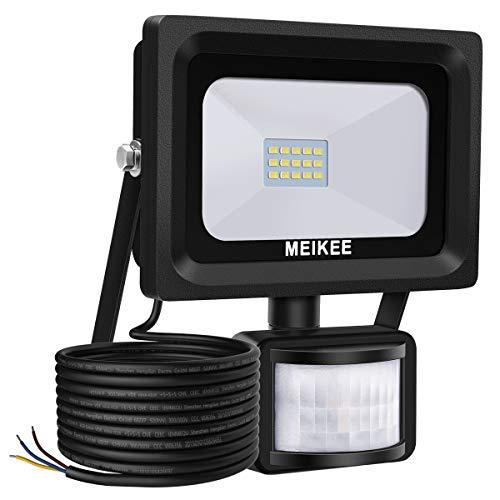 MEIKEE 10W LED Strahler mit Bewegungsmelder 1000 LM superhell LED Fluter IP66 wasserdicht Flutlichtstrahler Aluminium Scheinwerfer Licht ideale Wandleuchte für Garten Garage Sportplatz oder Hotel