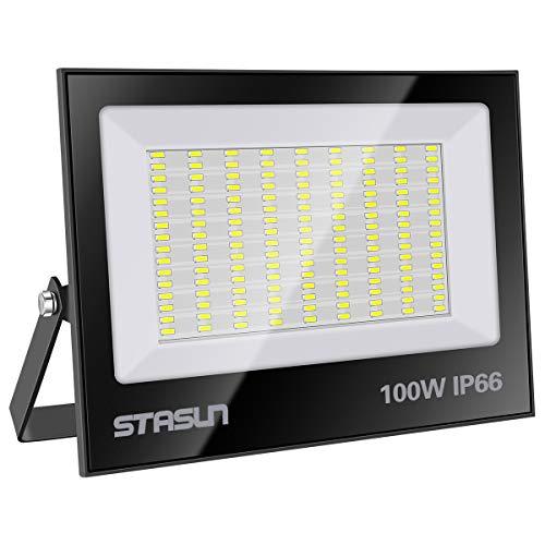 STASUN 100W LED Flutlicht Outdoor-Sicherheitsleuchte 10000LM 6000K Tageslichtweiß IP66 Wasserdicht LED Strahler 24 Monate Garantie