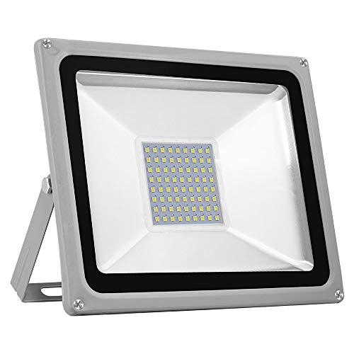 TEquem Kaltweiß LED Strahler 10W 20W 30W 50W 100W 150W 200W 300W 500W LED Wandstrahler Lampe Außenstrahler Aluminium Flutlicht Fluter 220V IP65 50W