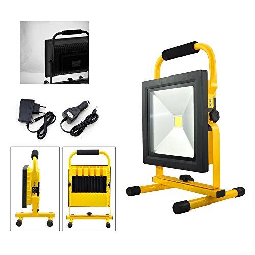 VINGO LED Lampe Fluter mit AKKU Strahler handlampe 50w Baustrahler 4500LM Wiederaufladbare Scheinwerfer Lampe 4400MA Kaltweiß