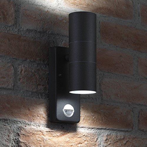 Auraglow Schwarz Rostfreier Stahl Zweiweg Wandleuchte mit PIR Detektor - 2 x LED Glühbirne Kaltes Weiß 7W Inbegriffen