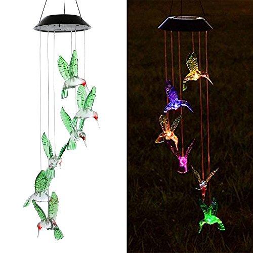 MIRX Windspiel Farbwechsel Outdoor Wasserdicht LED Solar Kolibri Windspiel für Zuhause Party Festival Decor Valentinstag Geschenk Night Garden Dekoration