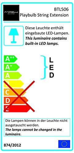 Mipow Playbulb String LED farbwechsel Lichterkette app gesteuert Energieklasse A bis A Grün 10m Basis-Set