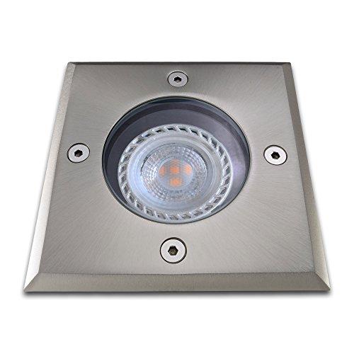 Bodeneinbaustrahler inkl LED 7W warmweiß DIMMBAR Einbaustrahler Spot Bodenspot Einbauleuchte GU10-Fassung ECKIG