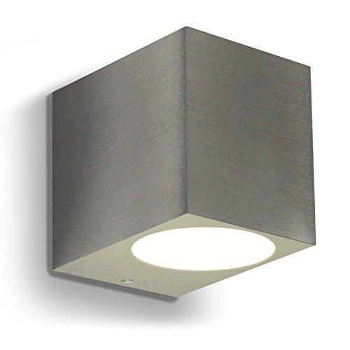 LED Wandleuchte  Wandlampe Außenleuchte Up Down 1-Flammig Aluminium Edelstahl geb FormJ IP44 GU10-230V Dimmbar Warmweiß