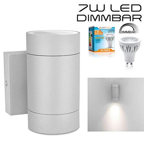 LEDANDO Hochwertige LED Wandleuchte UpOrDown Alu in grau inkl LED GU10 Markenstrahler 7W - DIMMBAR - COB - grau - warmweiß - für Innen und Außen - IP54