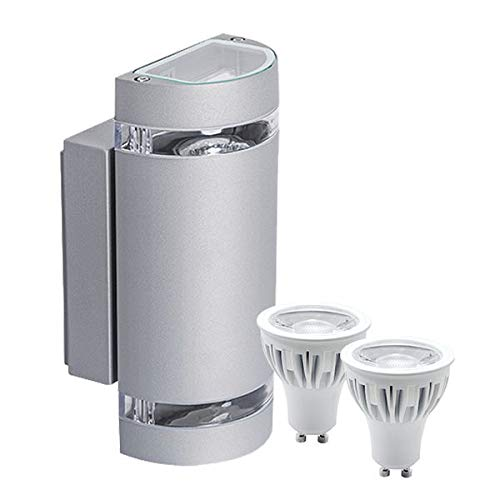 LEDANDO Hochwertige Runde LED Wandleuchte UpDown Alu inkl 2X LED GU10 Markenstrahler 7W - DIMMBAR - COB - grau - warmweiß - für Innen und Außen - IP44