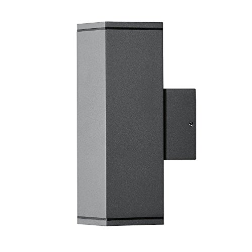 Premium LED Wandleuchte DOM Außenleuchte 2-Flammig Aluminium Anthrazit GU10-230V FormA5 DIMMBAR  Warmweiß