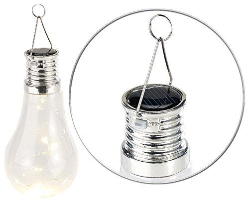 Lunartec Solarbirne Solar-LED-Lampe in Glühbirnen-Form 3 warmweiße LEDs 2 lm 0024 W Solar Hängeleuchte Glühbirne