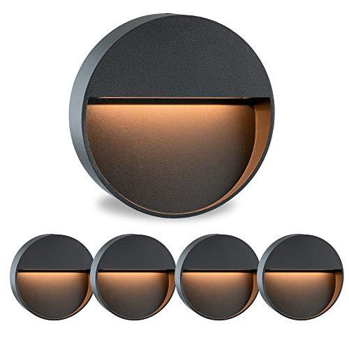 5 Stück Runde LED Treppenspots Wandlampe MORAVA für den Aufbau Aufputz IP54 innen außen verwendbar mit 2W in warmweiß