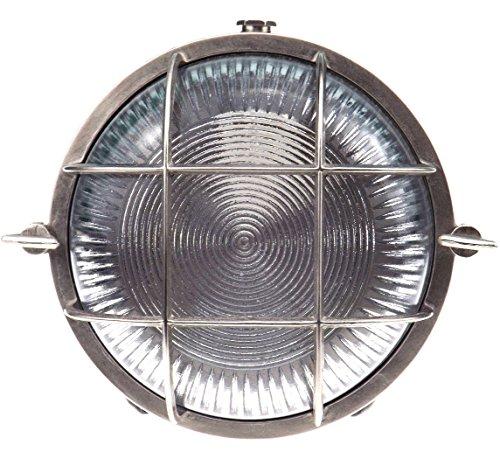 Discus 140 Runde Schiffslampe schiffsleuchten Gitter lampe aus massivem Messing wasserdichte Licht lampe Nautische Marine Wandlampe Industrielicht Nickel Matte Silber