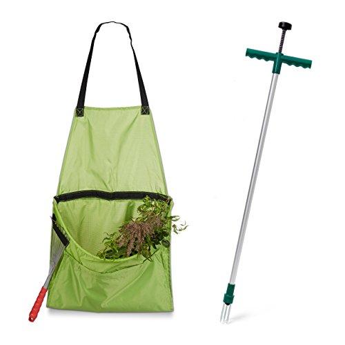 2 teiliges Gartenarbeits Set Unkrautstecher ergonomischer Unkrautzieher Ernteschürze für Gartenabfälle Gartenschürze