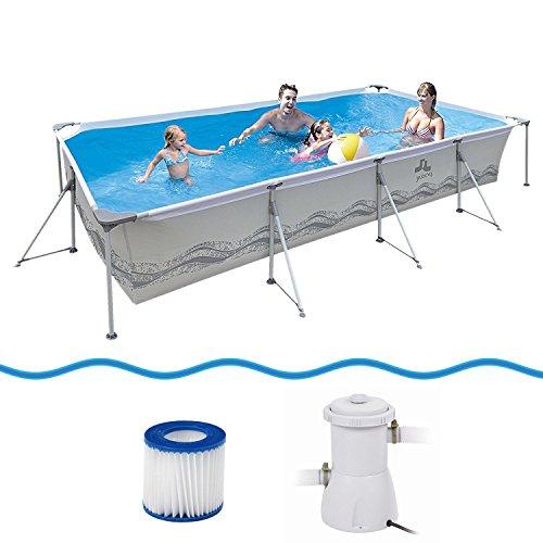 Jilong Passaat Swimming Pool Set 394x207x80 cm mit rechteck Becken Pumpe Filter-Kartusche Stahlrohr Schwimmbecken Stahlrahmen Schwimmbad Familienpool für Garten und Terasse