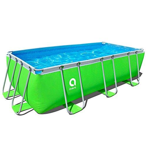 Jilong Passaat Swimming Pool Set 400x200x99 cm mit rechteck Becken Pumpe Leiter Stahlrohr Schwimmbecken Stahlrahmen Schwimmbad Familienpool für Garten und Terasse