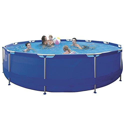 Jilong Sirocco Swimming Pool Set Ø 450x90 cm mit Becken Pumpe Leiter Abdeckplane Bodenplane Stahlrohr Schwimmbecken Stahlrahmen Schwimmbad Familienpool inkl Zubehör