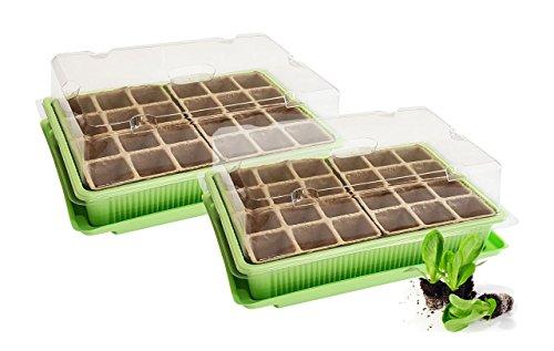 Quantio 2X Mini Gewächshaus - für bis zu 48 Pflanzen ca 27 x 19 x 10 cm LxBxH je Zimmergewächshaus GrünTransparent KunststoffZellulose