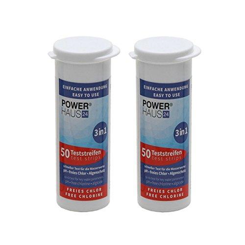 POWERHAUS24 100 Teststäbchen 3 in 1 Teststreifen 2er Pack Teststrips für Chlor pH Wert und Algenschutz für Pool und Whirlpool 2 x 50 Stück