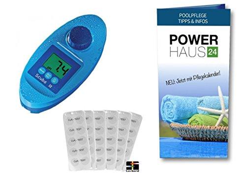 Scuba II - Photometer - Elektronische Pooltester für Chlor und pH-Wert Messung - mit POWERHAUS24 Pflegefibel - Messgerät für den anspruchsvollen privaten Schwimmbad- und WhirlPool Betreiber