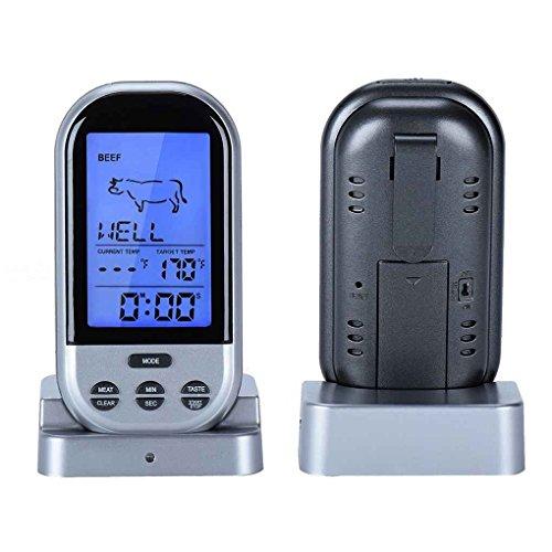 Digital BBQ-Thermometer Wireless-Küche Ofen Kein Kochen Grill Smoker Fleisch Temperatur-Messinstrument Probe Timer-Temperatur-Alarm Regard Natral