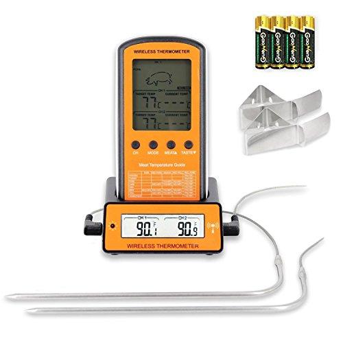 Grill Thermometer Bratenthermometer Wireless Remote Digital Thermometer mit 2 Temperaturfühlern für Küche Kochen Backen und Grillen