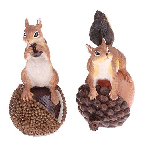 Homyl Handgemachter Tierfigur Modell Gartenfigur Dekofigur Haus Garten Dekoration - Eichhörnchen